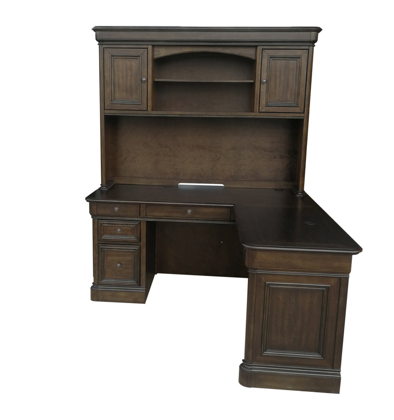 Shane Hutch and Corner Desk - Tuscany Brown
