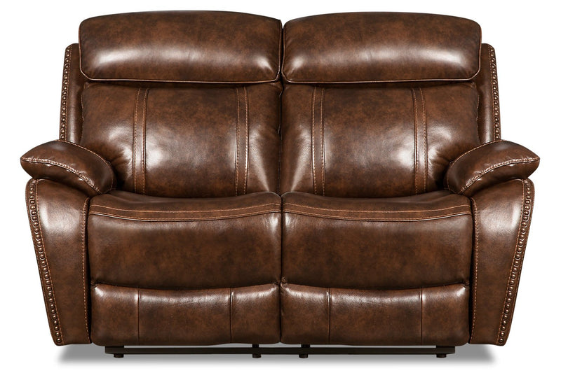 Lyon Genuine Leather Power Reclining Loveseat - Brown