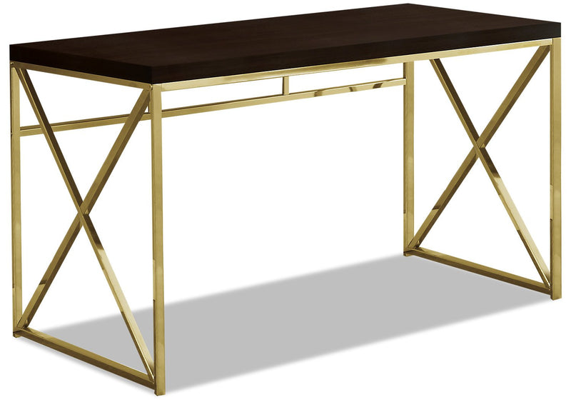 Findlay Desk - Cappuccino and Gold