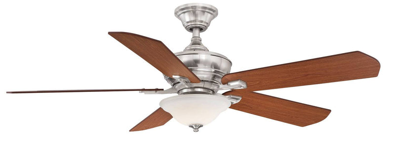 "Barnsbury 52"" Ceiling Fan with Glass Bowl Light - Cherry/Brushed Nickel"