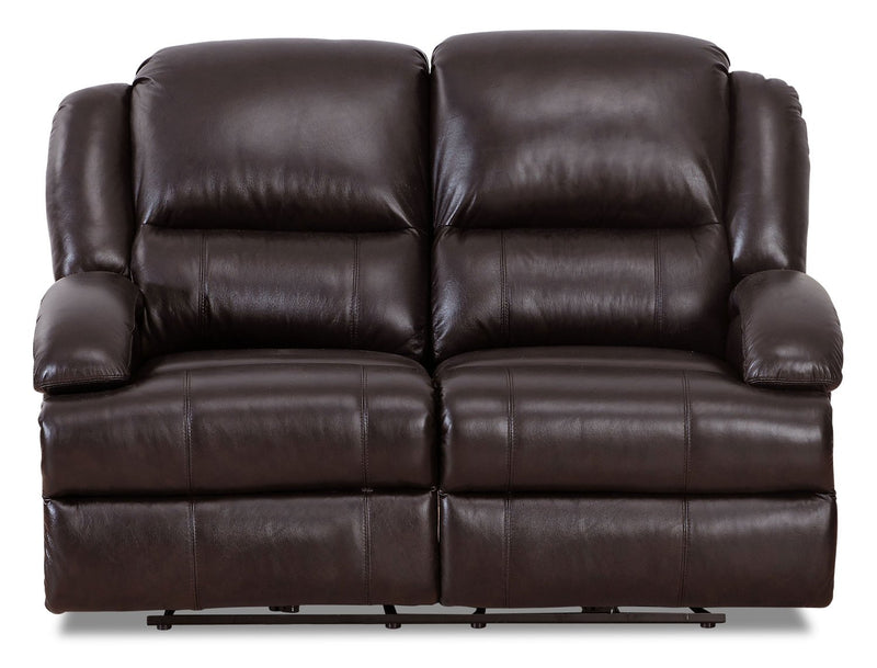 Weston Genuine Leather Power Reclining Loveseat with Power Lumbar - Dark Brown