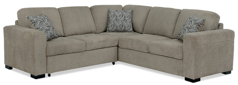 Edwin 2-Piece Chenille Sectional with Left-Facing Sleeper Bed - Platinum