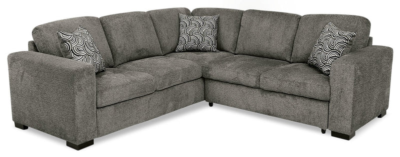 Edwin 2-Piece Chenille Sectional with Right-Facing Sleeper Bed - Pewter