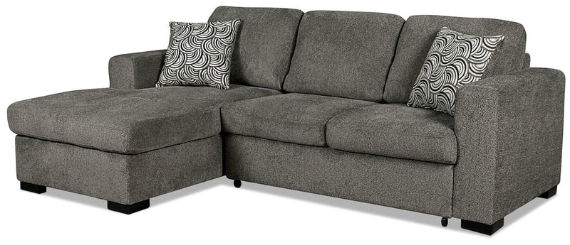 Edwin 2 pc. Chenille Left-Facing Sectional with Sofa Bed - Pewter