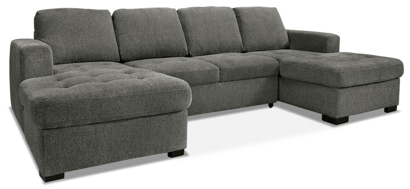 Koushiro 3-Piece Chenille Sofa Bed Sectional with Two Chaises - Pewter