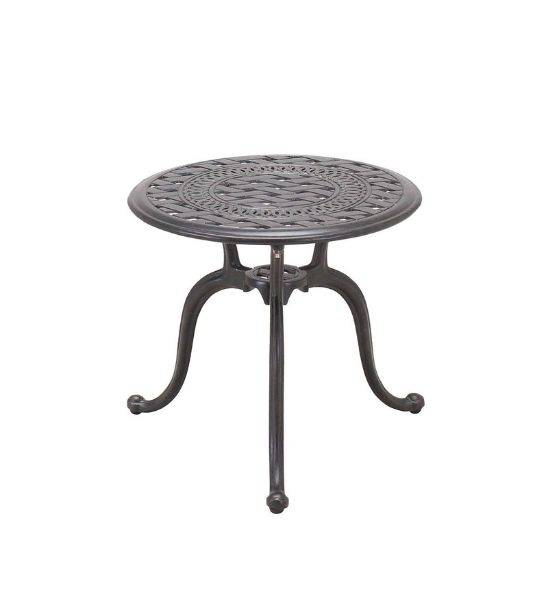 "Aman II 18"" Round End Table - Antique Bronze"