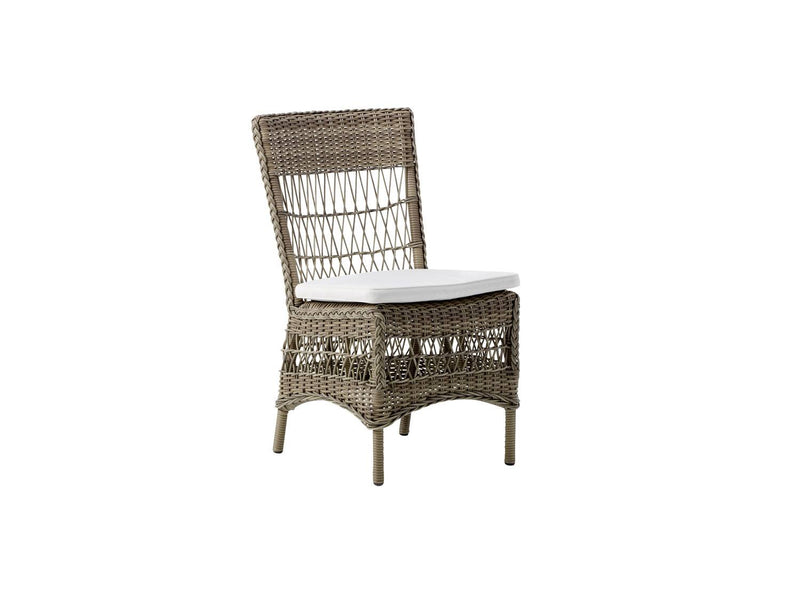 Mervat Outdoor Dining Chair - Light Brown / White