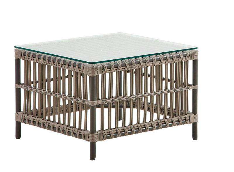 Semra Glass Top Outdoor End Table  - Grey / Dark Brown