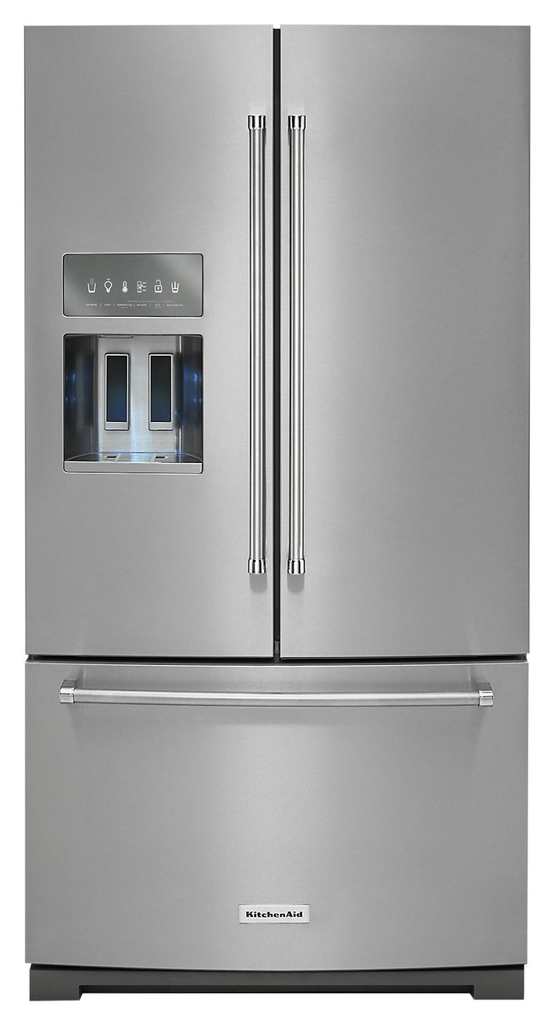 KitchenAid 26.8 Cu. Ft. French-Door Refrigerator with Exterior Ice and Water – KRFF507HPS