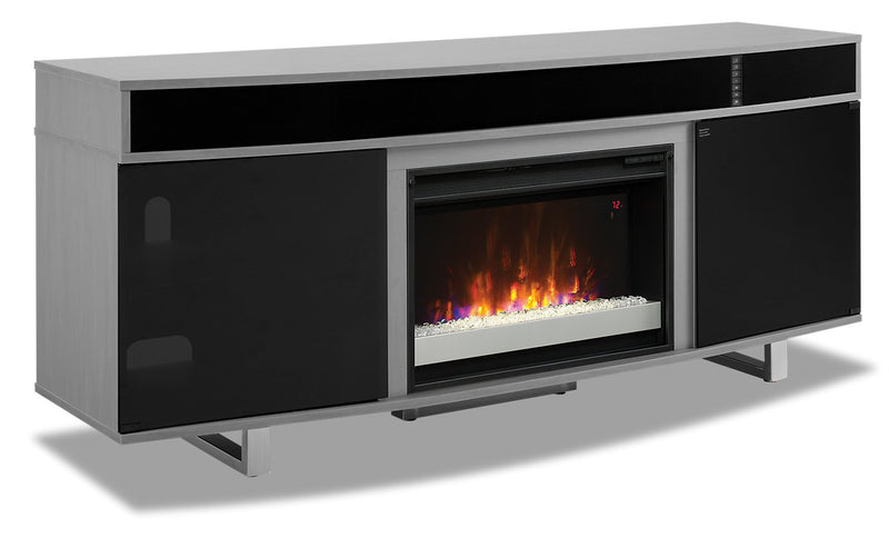 "Edison 72"" TV Stand with Glass Ember Firebox and Soundbar - Grey"