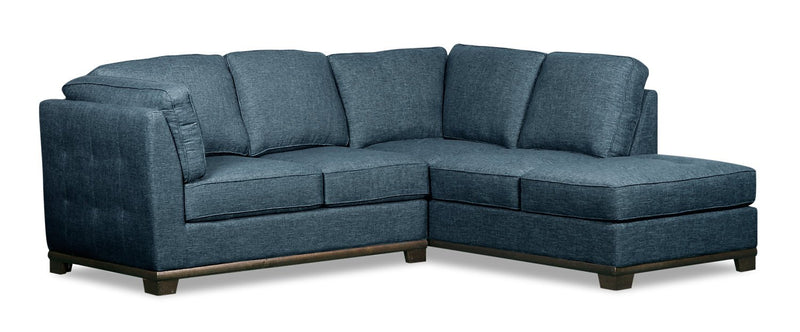 Oxford 2-Piece Linen-Look Fabric Right-Facing Sectional - Blue