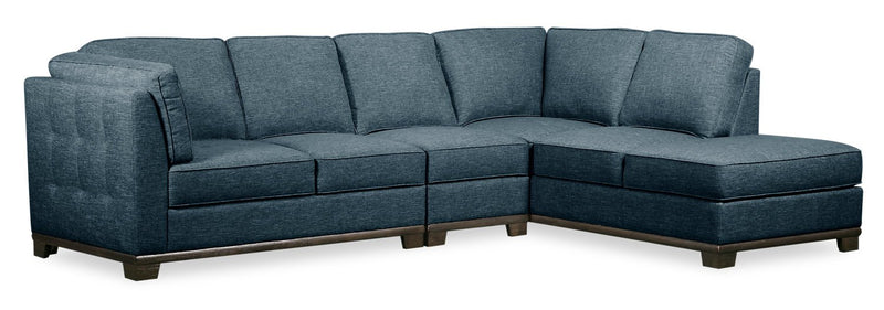 Oxford 3-Piece Linen-Look Fabric Right-Facing Sectional - Blue