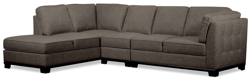 Oxford 3-Piece Linen-Look Fabric Left-Facing Sectional - Charcoal