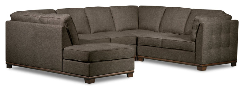 Lealinds 4-Piece Linen-Look Fabric Left-Facing Sectional - Charcoal