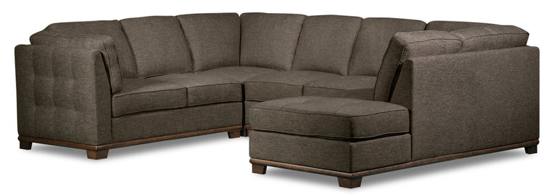 Lealinds 4-Piece Linen-Look Fabric Right-Facing Sectional - Charcoal