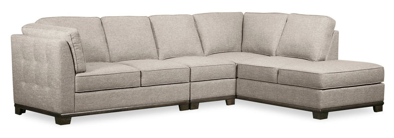 Oxford 3-Piece Linen-Look Fabric Right-Facing Sectional - Mushroom