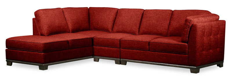 Oxford 3-Piece Linen-Look Fabric Left-Facing Sectional - Red