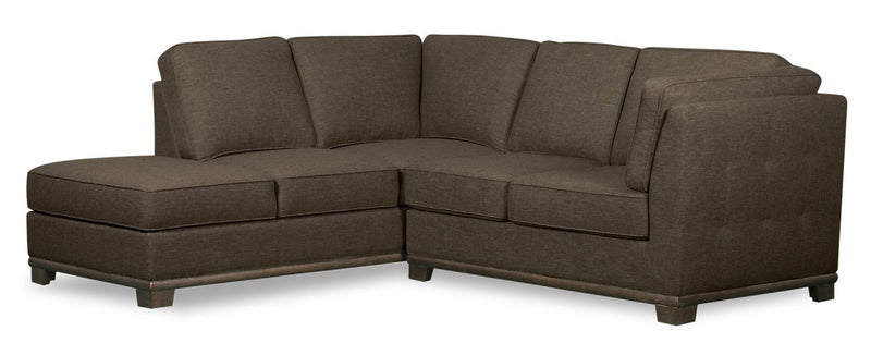 Oxford 2-Piece Linen-Look Fabric Left-Facing Sectional - Tobacco