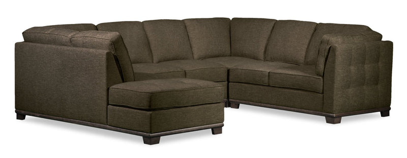 Oxford 4-Piece Linen-Look Fabric Left-Facing Sectional - Tobacco