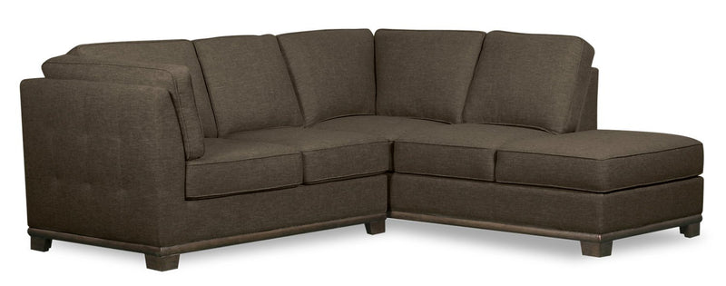 Oxford 2-Piece Linen-Look Fabric Right-Facing Sectional - Tobacco