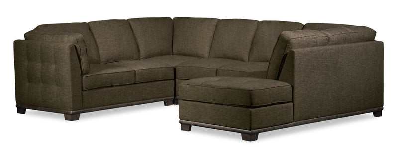 Oxford 4-Piece Linen-Look Fabric Right-Facing Sectional - Tobacco