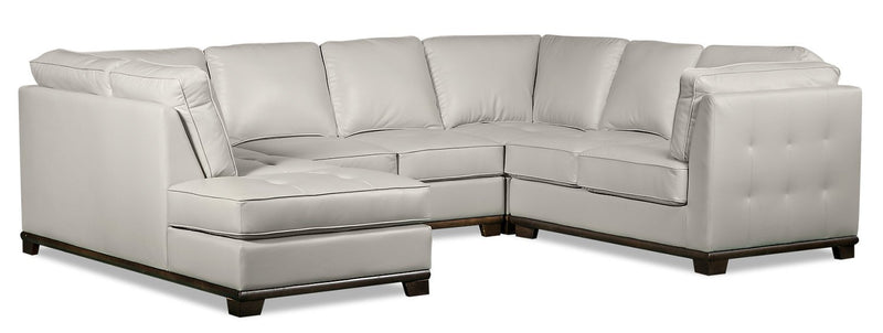 Lealinds 4-Piece Leather-Look Fabric Left-Facing Sectional - Beige