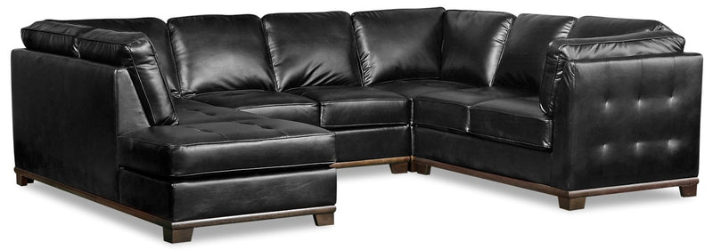 Lealinds 4-Piece Leather-Look Fabric Left-Facing Sectional - Black