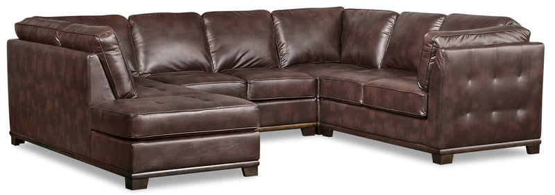 Lealinds 4-Piece Leather-Look Fabric Left-Facing Sectional - Brown