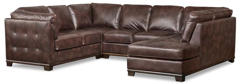 Lealinds 4-Piece Leather-Look Fabric Right-Facing Sectional - Brown