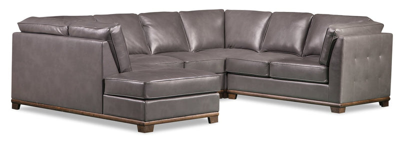 Lealinds 4-Piece Leather-Look Fabric Left-Facing Sectional - Grey