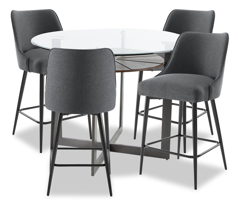 Verdon 5-Piece Counter-Height Dining Room Set - Grey