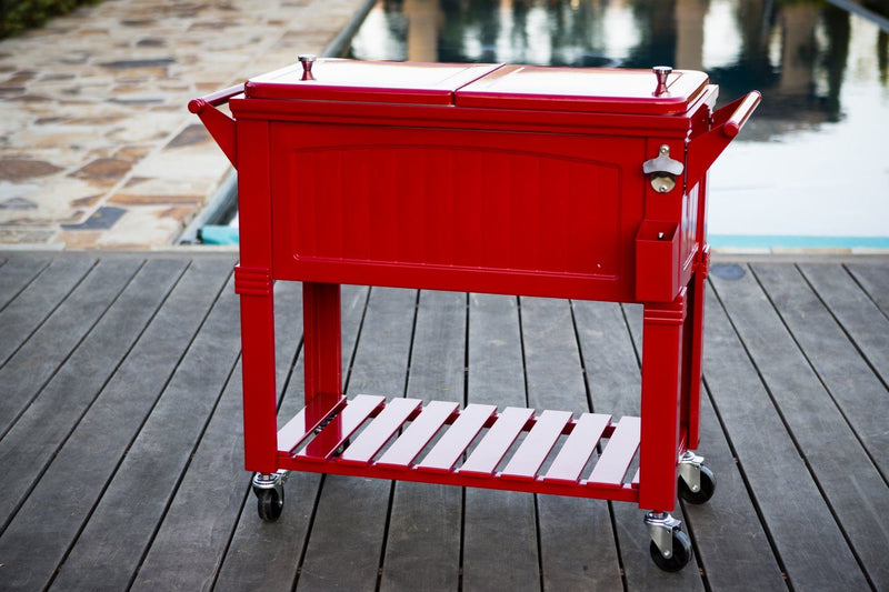 Permasteel 80Qt Furniture Style Patio Cooler - Red