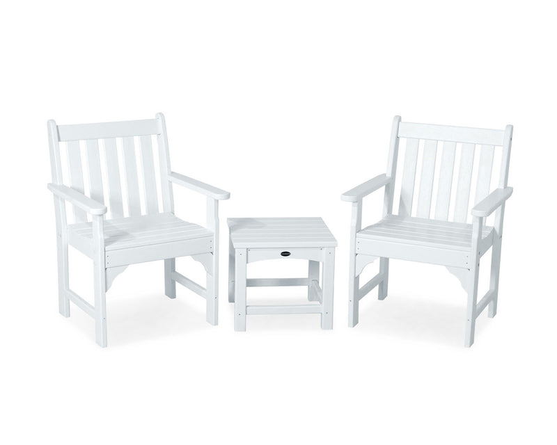 POLYWOOD® Vineyard 3-Piece Garden Chair Set in White