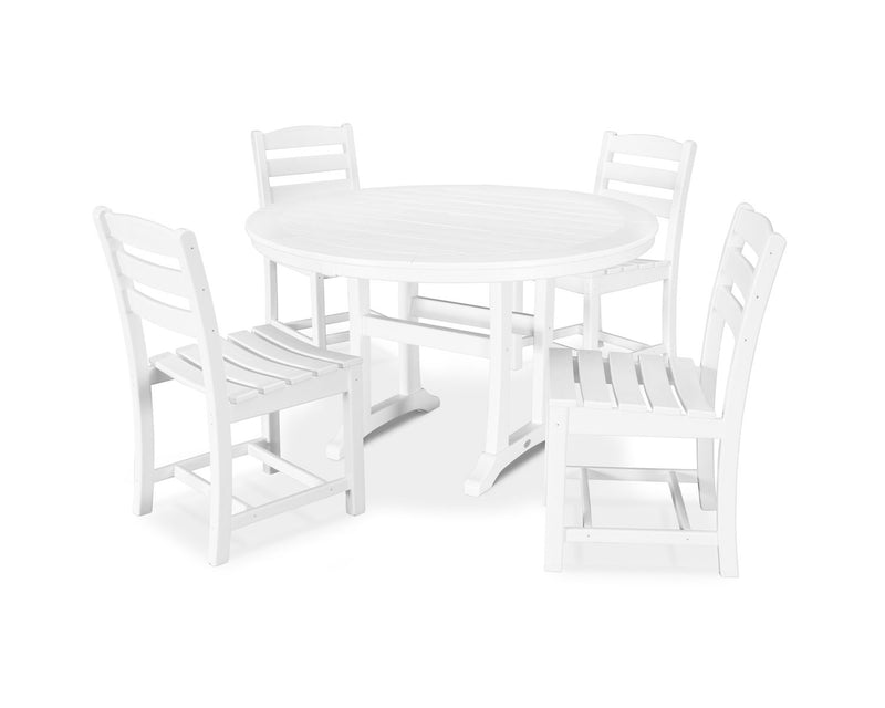 POLYWOOD® 5 Piece La Casa Side Chair Dining Set in White