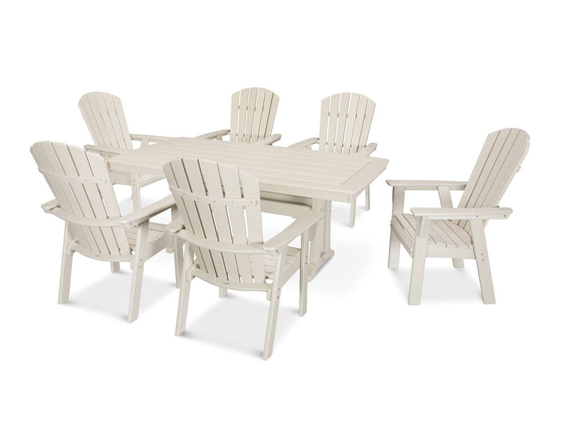 POLYWOOD® Nautical Adirondack 7-Piece Trestle Dining Set in Sand