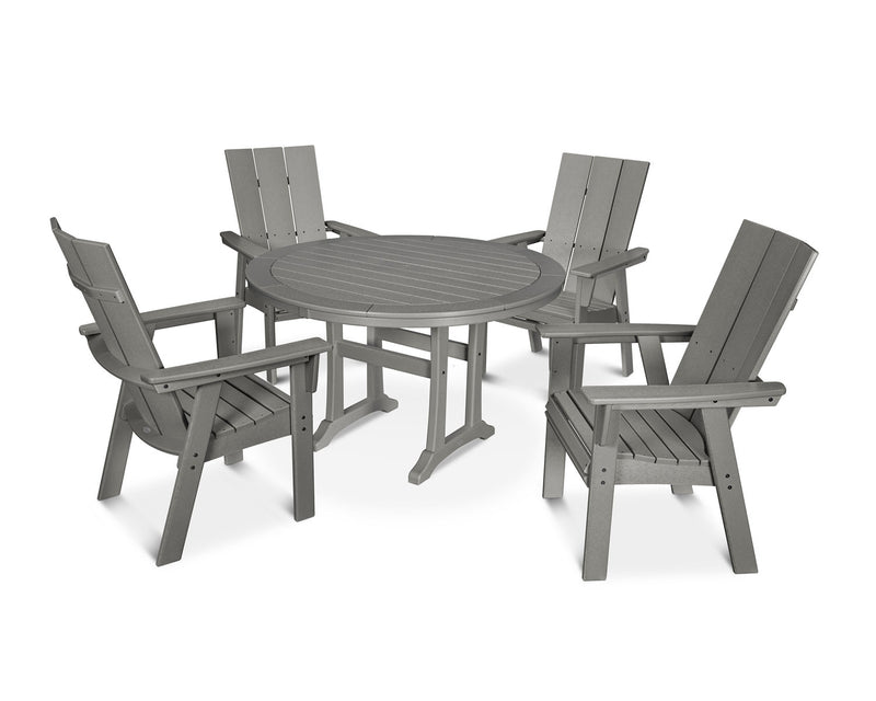 POLYWOOD® Modern Adirondack 5-Piece Nautical Trestle Dining Set in Slate Grey
