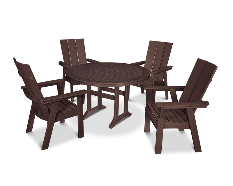 POLYWOOD® Modern Adirondack 5-Piece Nautical Trestle Dining Set in Mahogany