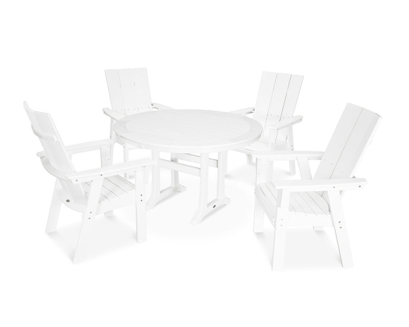 POLYWOOD® Modern Adirondack 5-Piece Nautical Trestle Dining Set in White