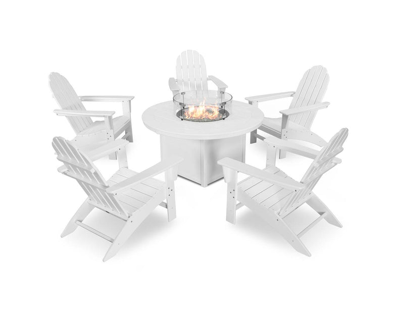 POLYWOOD® Vineyard Adirondack 6-Piece Chat Set with Fire Pit Table in White