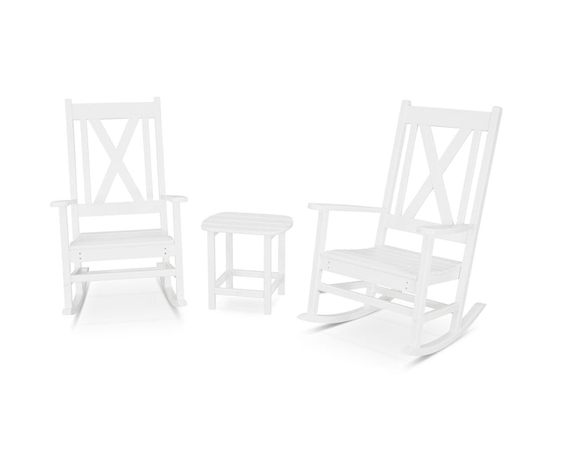 POLYWOOD® Braxton 3-Piece Porch Rocking Chair Set in White