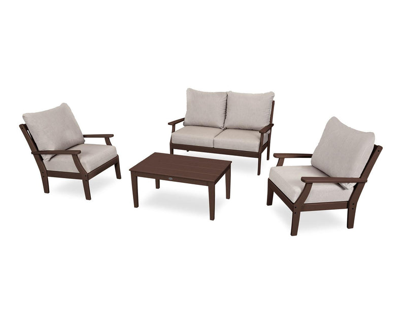 POLYWOOD® Braxton 4-Piece Deep Seating Set in Mahogany/Cast Ash