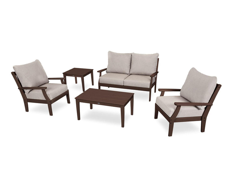 POLYWOOD® Braxton 5-Piece Deep Seating Set in Mahogany/Cast Ash