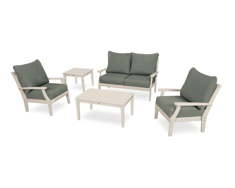 POLYWOOD® Braxton 5-Piece Deep Seating Set in Sand/Cast Sage