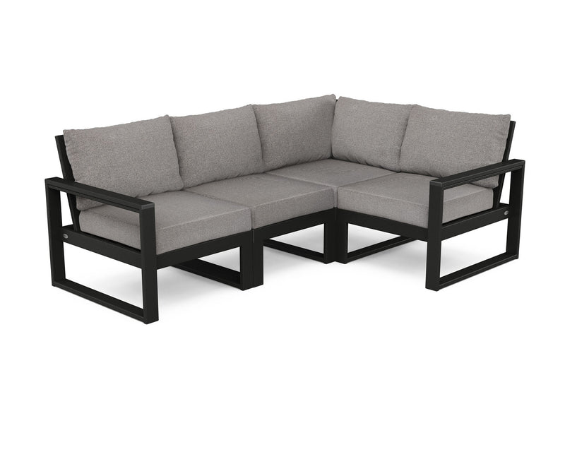 POLYWOOD® EDGE 4 Pc Modular Deep Seating Set - Black / Grey Mist
