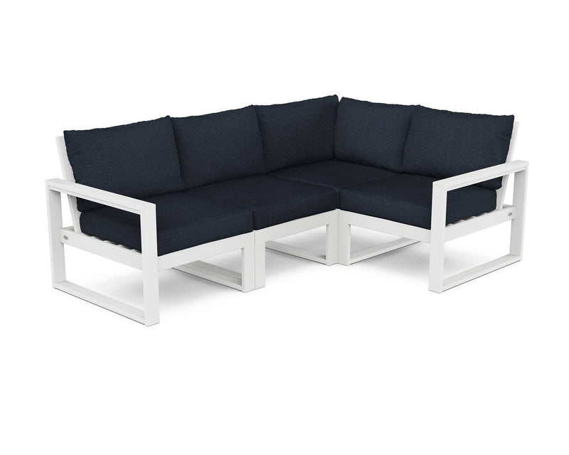POLYWOOD® EDGE 4 Pc Modular Deep Seating Set - White / Marine Indigo