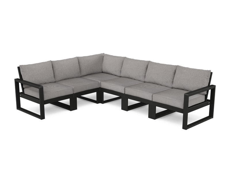 POLYWOOD® EDGE 6 Pc Modular Deep Seating Set - Black / Grey Mist