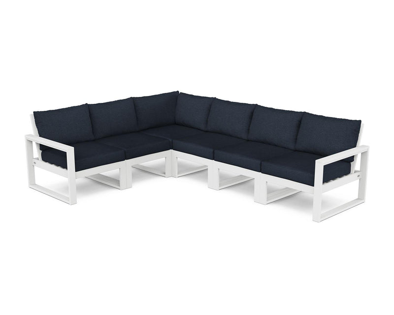 POLYWOOD® EDGE 6 Pc Modular Deep Seating Set - White / Marine Indigo