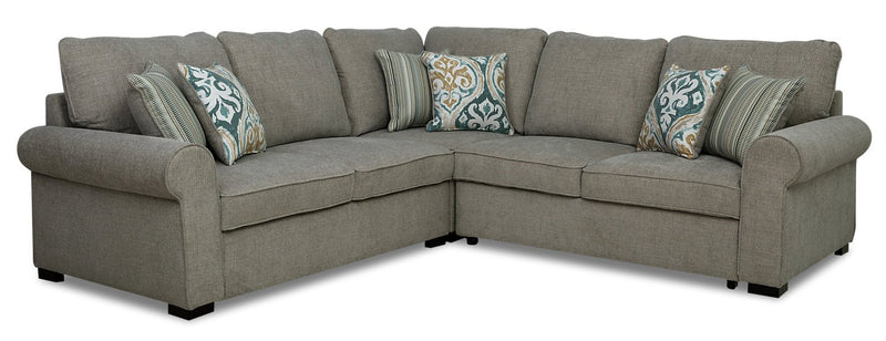 Solera 3-Piece Fabric Right-Facing Sleeper Sectional - Grey
