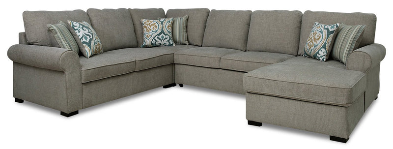 Solera 4-Piece Fabric Right-Facing Sleeper Sectional with Storage Chaise - Grey