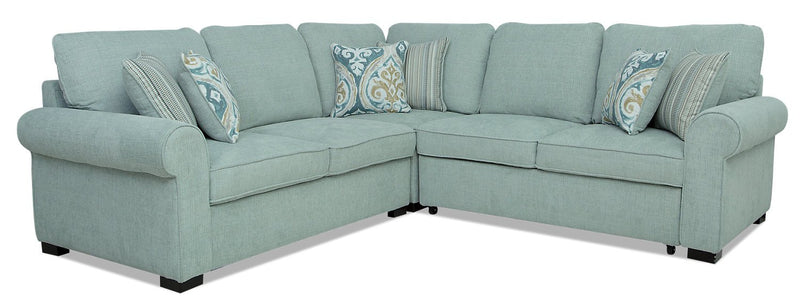 Solera 3-Piece Fabric Right-Facing Sleeper Sectional - Seafoam